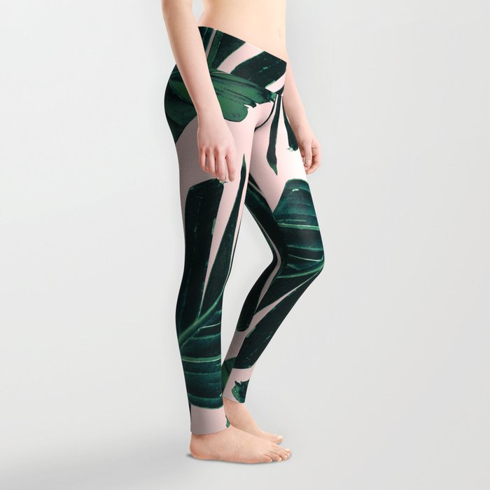 Tropical Blush Banana Leaves Dream #1 #decor #art #society6 Leggings