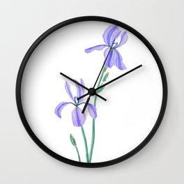 elegant purple iris Wall Clock