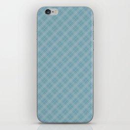 Christmas Icy Blue Velvet Diagonal Tartan Check Plaid iPhone Skin