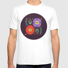 Flowerfully Folk White SMALL Mens Fitted Tee