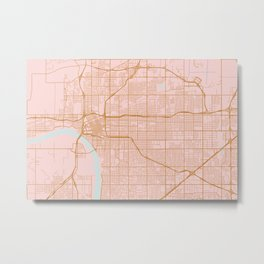 Pink and gold Tulsa map Metal Print