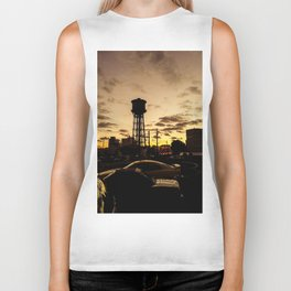 Water tower sunset Biker Tank