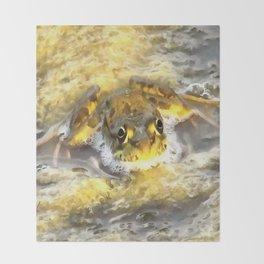 Frog In Deep Water Throw Blanket