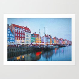 The Quay at Nyhavn, Copenhagen, Denmark Art Print