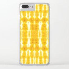 Yellow Linen Shibori Stripe Clear iPhone Case