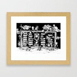 Monochrome surrealistic Illustration:Calculation/Abacus Framed Art Print