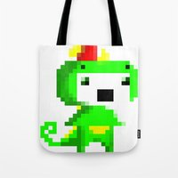 fez Tote Bags featuring Rawr played Fez by Leilei Pan