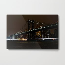 Manhattan Bridge night Metal Print