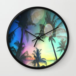 Summer Dreams : Pastel Palm Trees Wall Clock