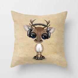 Cute Musical Reindeer Dj Wearing Headphones Throw Pillow