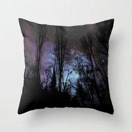 Black Trees Dark Space Throw Pillow