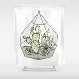 Succulent Terrarium Shower Curtain