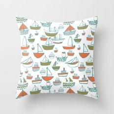 Hey Little Boat Throw Pillow