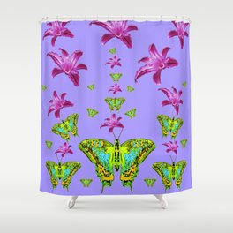 GREEN MOTHS & PURPLE LILIES LILAC COLOR Shower Curtain