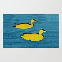 ducks Area & Throw Rugs featuring Ducks by Brontosaurus
