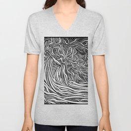 Wave Line Drawing Unisex V-Neck