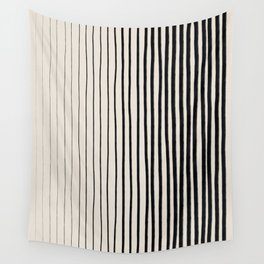Black Vertical Lines Wall Tapestry