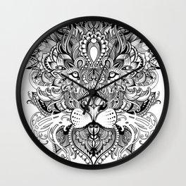 Black And White Geometric pattern mandala lion face Wall Clock