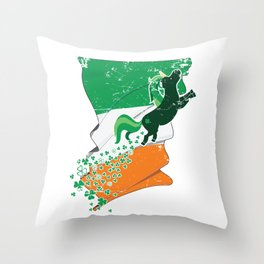 Unicorn Distressed Irish Flag St Patricks Throw Pillow