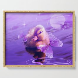 Baby Duck And Butterflies By Annie Zeno Serving Tray