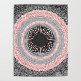 Metal Silver and Pink Mandala Abstract Poster