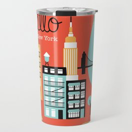 Hello New York - retro manhattan NYC icons illustration Travel Mug