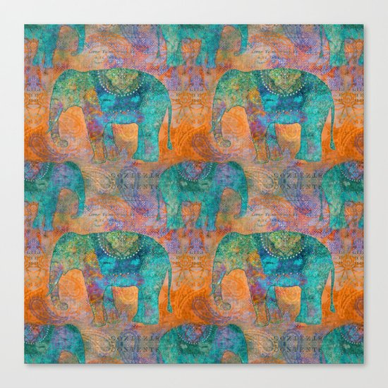 Elephant Pattern allover orange turquoise Canvas Print