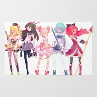 madoka magica Area & Throw Rugs featuring Madoka by sarlisart