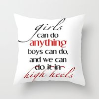 heels Throw Pillows featuring Heels by Luxe Glam Decor