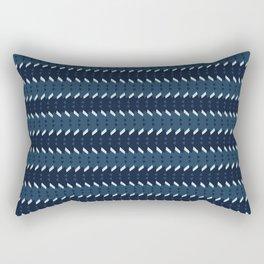 Abstract Stripes Pattern Indigo Blue Grunge Rectangular Pillow