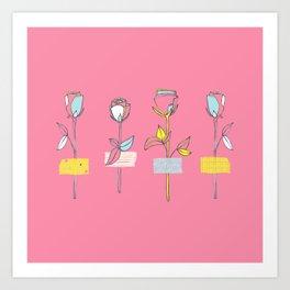 Rosewall (on pink) Art Print