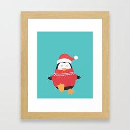 Little Penguin in Ugly Christmas Sweaters Framed Art Print