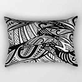 Black And White Poly Print Rectangular Pillow