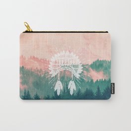 Your Vibe Attracts Your Tribe - Pink Teal Forest Carry-All Pouch