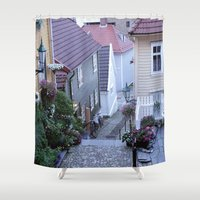 norway Shower Curtains featuring Bergen - Norway  by Cynthia del Rio