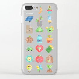 CUTE GREEN / ECO / RECYCLE PATTERN Clear iPhone Case