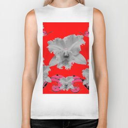 MODERN ART RED ART NOUVEAU WHITE ORCHIDS ART Biker Tank