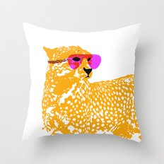 Cheetah with sunglasses on Throw Pillow
