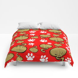 Dumpling Cat Red pattern Comforters