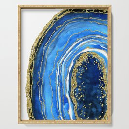 Cobalt blue and gold geode in watercolor (2) Serving Tray