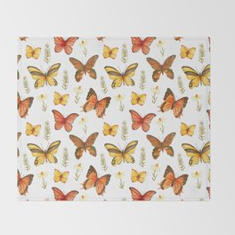 Butterfly Totem White Background Throw Blanket