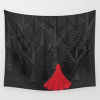 red riding hood Wall Tapestries featuring Red Riding Hood by Illusorium