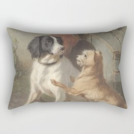 Conradijn Cunaeus - Two dogs in front of a doghouse (1838 - 1895) Rectangular Pillow