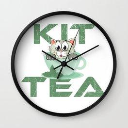 Cat Lover Shirt Kit Tea Funny Kitten Pun Wall Clock