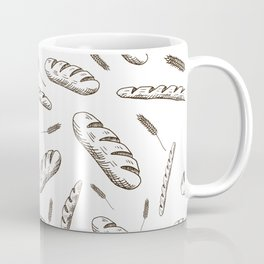 Bread print. Hand-drawn bread baguettes on white background. Coffee Mug