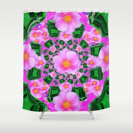May Babies Emerald Gems & Pink Roses Shower Curtain
