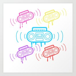 Here's A Great 80's design A Colorful 80's Design Saying Cassette T-shirt Design Vitage Retro Art Print