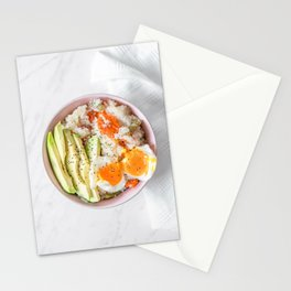 Veggie Rice, Mixed Vegetables, Avocado and Boiled Egg, Flat Lay Food Photography Print, Kitchen Restaurant Cuisine Art Print Stationery Cards