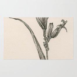 Floral Ink Drawing I Rug