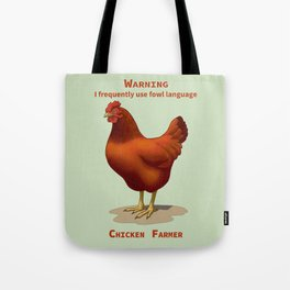 Funny Rhode Island Red Hen Fowl Language Chicken Farmer Tote Bag